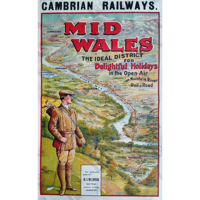 Affiche ancienne originale golf Cambrian railways Mid Wales river wye golf links