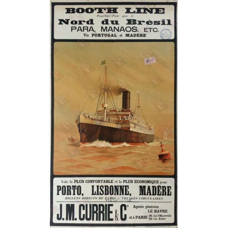 Original vintage poster Booth Line Brésil via Le HAVRE 1905 - Norman WILKINSON