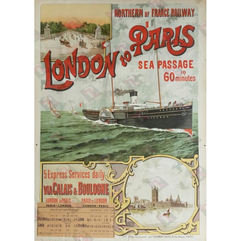 Affiche ancienne originale London to Paris, Sea Passage 60 minutes via Calais & Boulogne - Henri GRAY