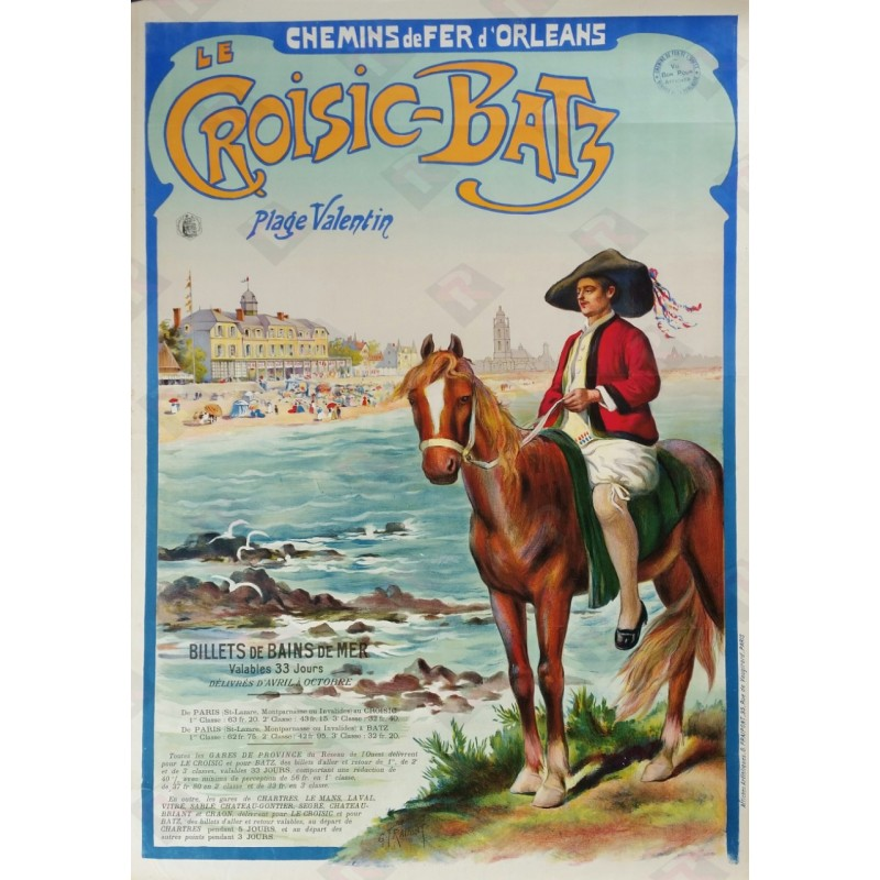 Original vintage poster Le Croisic Batz plage Valentin Chemin de fer d'Orléans - Gustave FRAIPONT