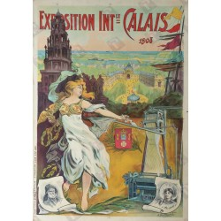 Original vintage poster exposition internationale Calais 1908 - DORFINANT