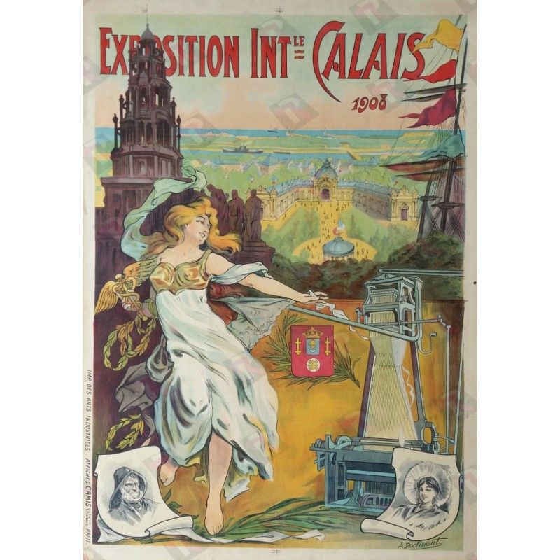 Affiche ancienne originale exposition internationale Calais 1908 - DORFINANT