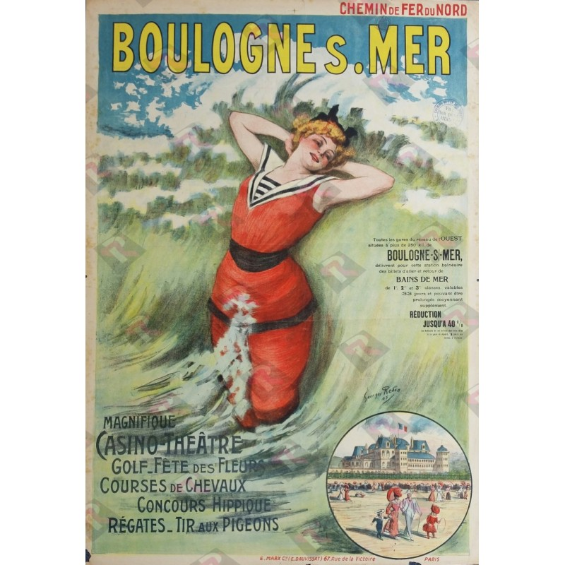 Affiche ancienne originale Boulogne sur Mer Georges REDON