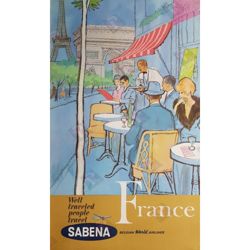 Affiche ancienne originale Sabena France Paris Belgian World Airways