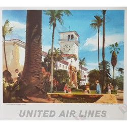Affiche ancienne originale Historic Courthouse Santa Barbara California painted for United Airlines Tom HOYNE