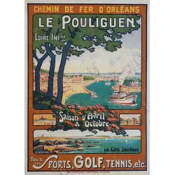 Affiche ancienne originale Le Pouliguen Tous les sports GAUTHIER