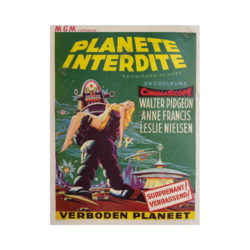 Affiche ancienne originale scifi Forbidden planet 1956