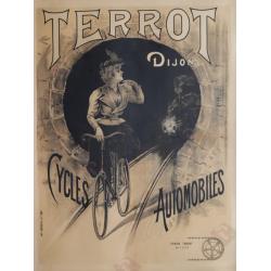 Affiche ancienne originale Terrot Dijon cycles automobiles
