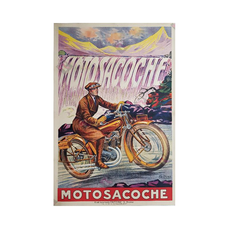 Original vintage motorcycle poster Motosacoche Fritayre