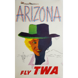 Affiche ancienne originale Fly TWA Arizona Austin BRIGGS