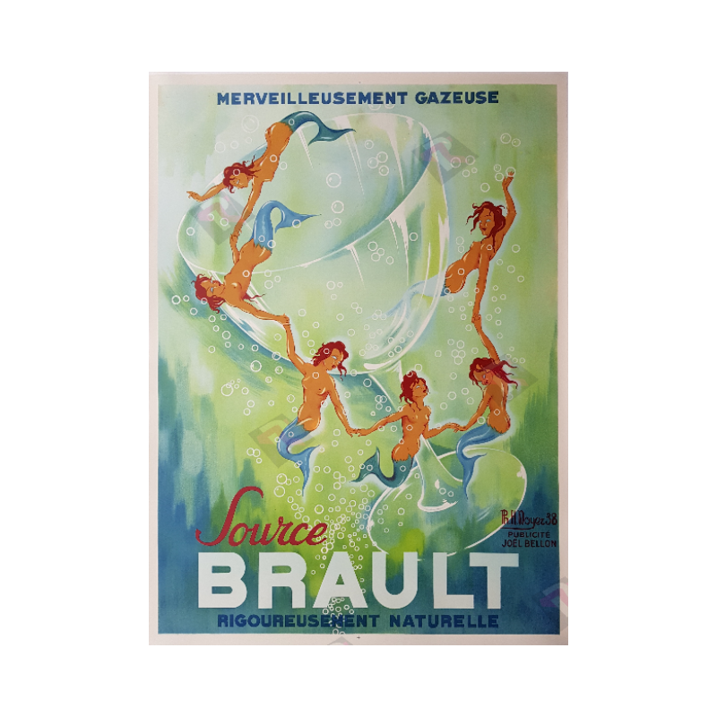 Affiche ancienne originale Source Brault 1938 PH NOYER
