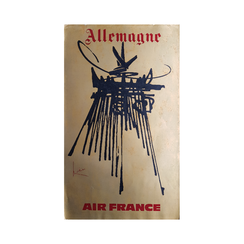 Affiche ancienne originale Air France Allemagne - Georges MATHIEU