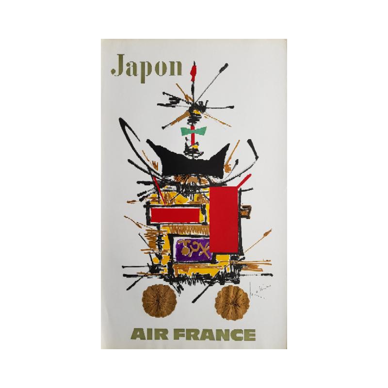 Affiche ancienne originale Air France Japon - Georges MATHIEU