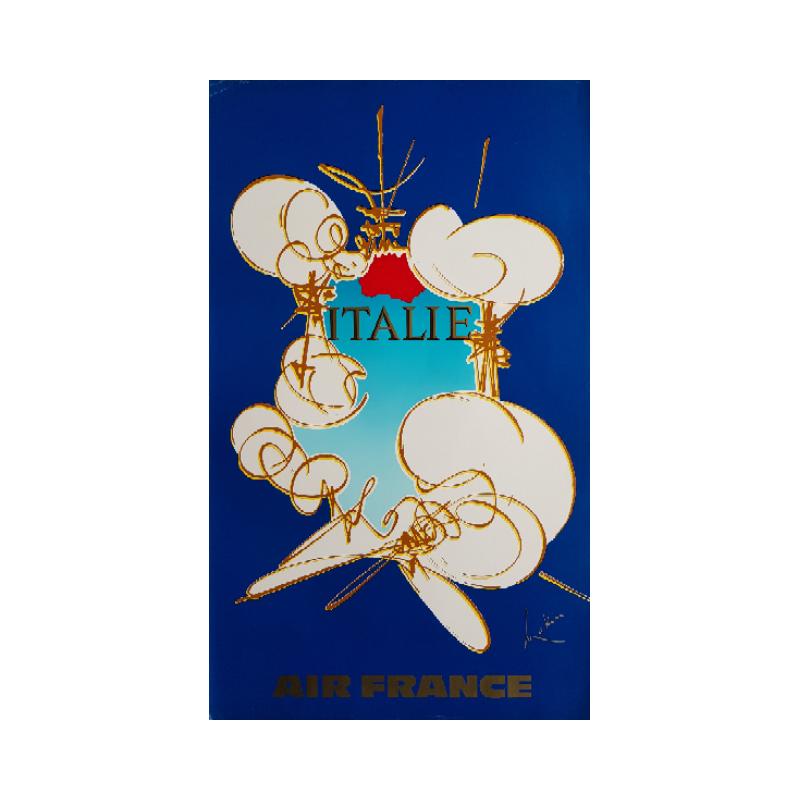 Affiche ancienne originale Air France Italie - Georges MATHIEU