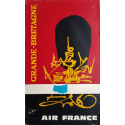 Original vintage poster Air France Grande Bretagne - Georges MATHIEU