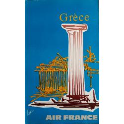 Original vintage poster Air France Grèce - Georges MATHIEU