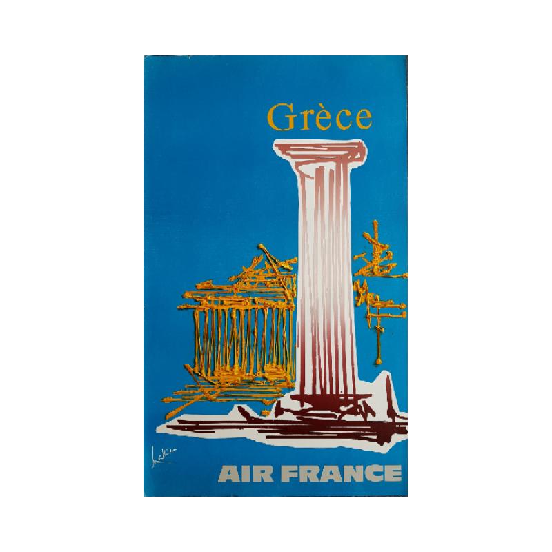 Affiche ancienne originale Air France Grèce - Georges MATHIEU