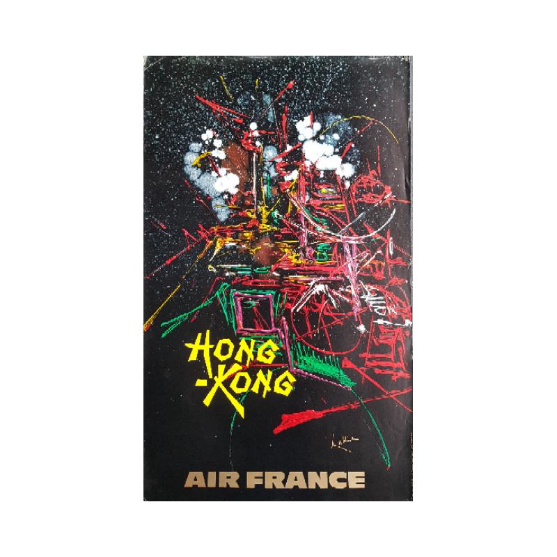 Affiche ancienne originale Air France Hong-Kong - Georges MATHIEU