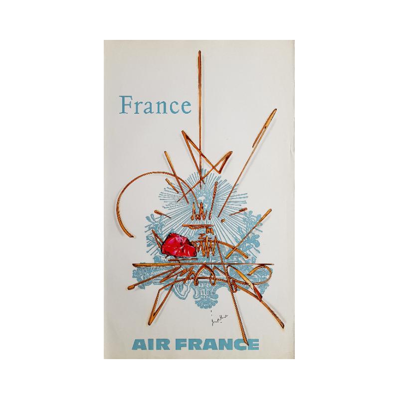Affiche ancienne originale Air France France - Georges MATHIEU