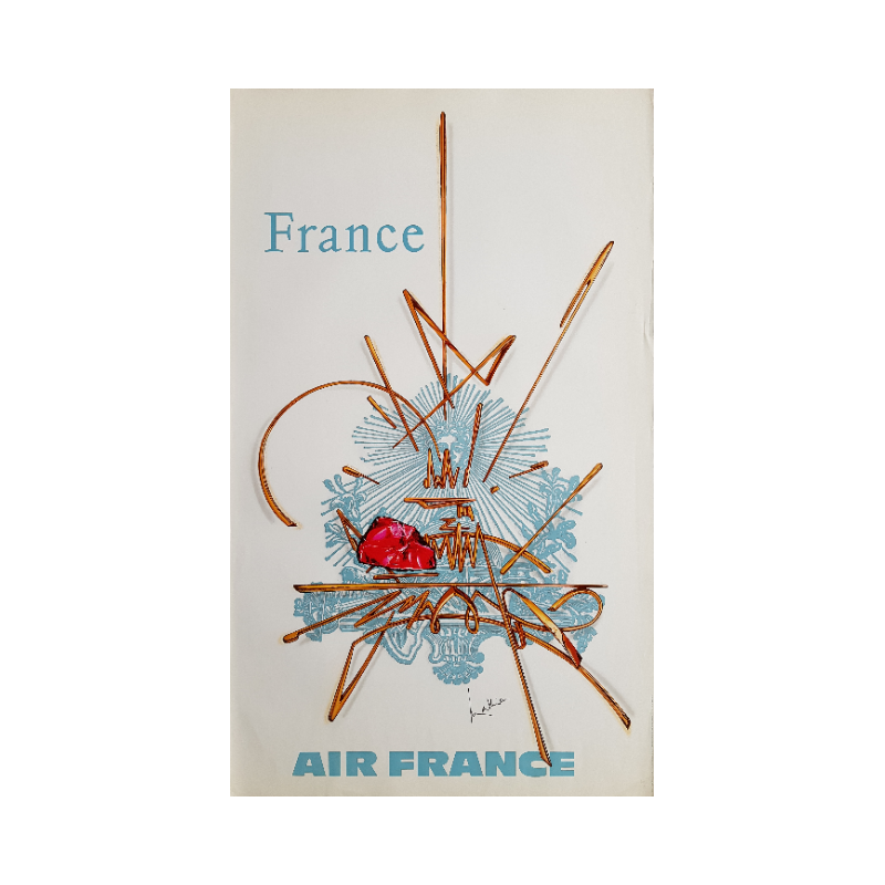 Original vintage poster Air France France - Georges MATHIEU