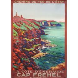 Affiche ancienne originale Cap Fréhel Louis HOUPIN