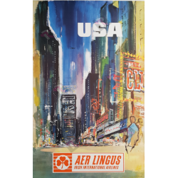 Original vintage poster AER Lingus USA New-York Time Square