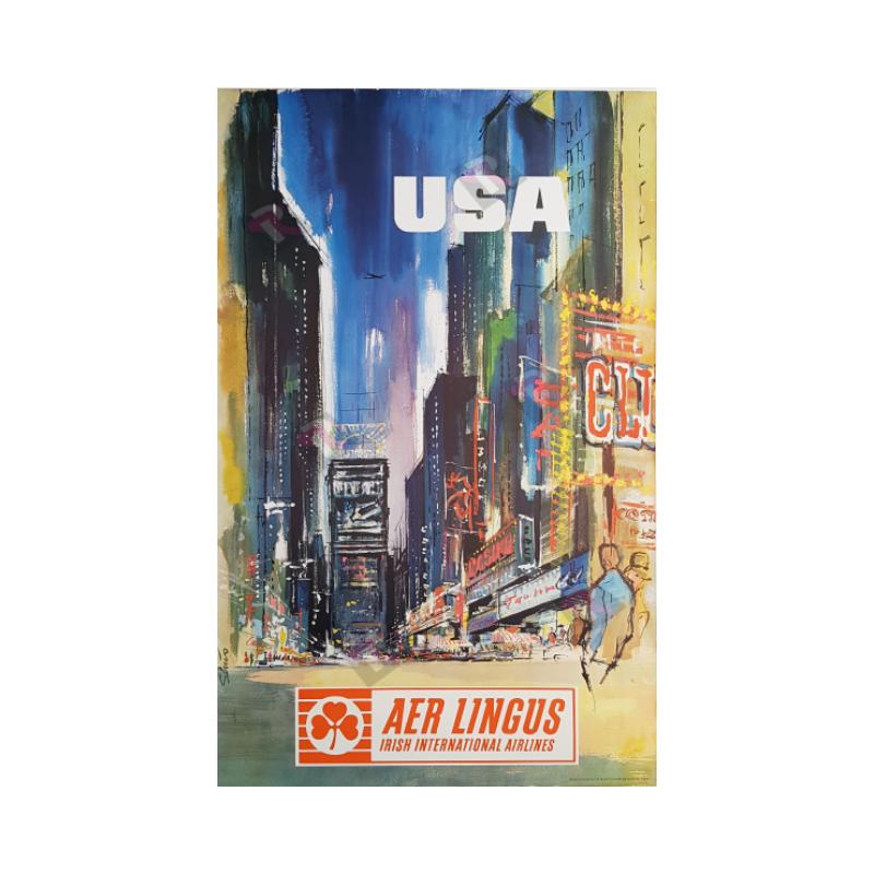 Affiche ancienne originale AER Lingus USA New-York Time Square