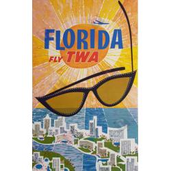 Affiche ancienne originale Fly TWA Florida David KLEIN