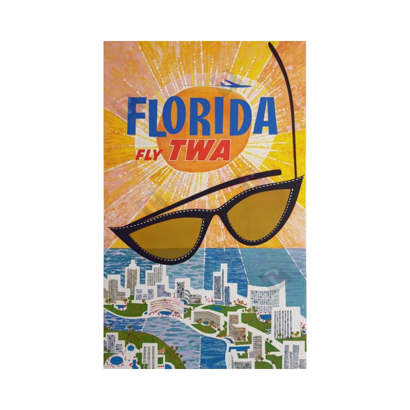 Original vintage poster Fly TWA Florida David KLEIN