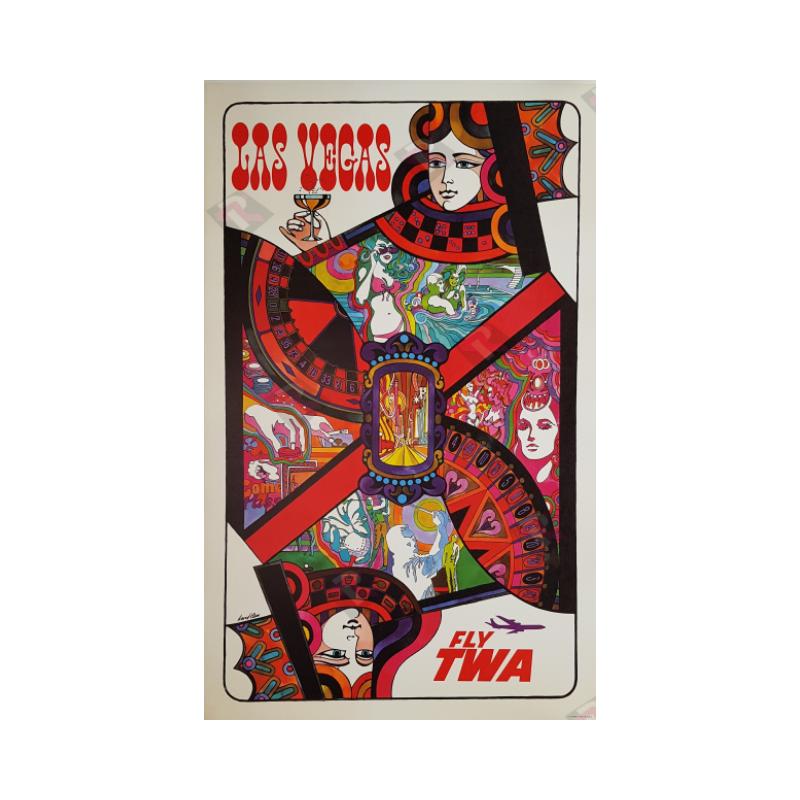 Affiche ancienne originale Fly TWA Las Vegas Queen card David Klein