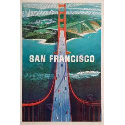 Affiche ancienne originale San Francisco Golden gate Howard KOSLOW