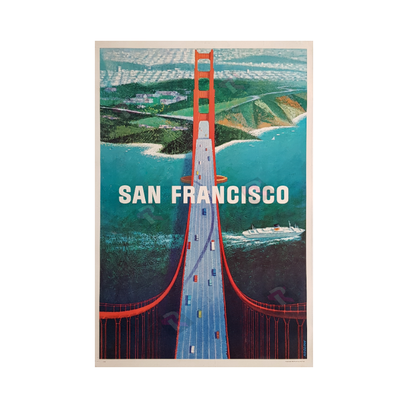Affiche ancienne originale San Francisco Golden gate Howard KOSLOW