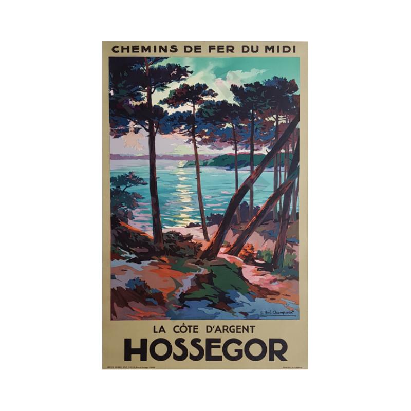 Affiche ancienne originale Hossegor la côte d'argent E PAUL CHAMPSEIX
