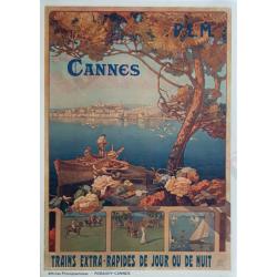 Affiche ancienne originale Cannes Trains extra rapides Robaudy