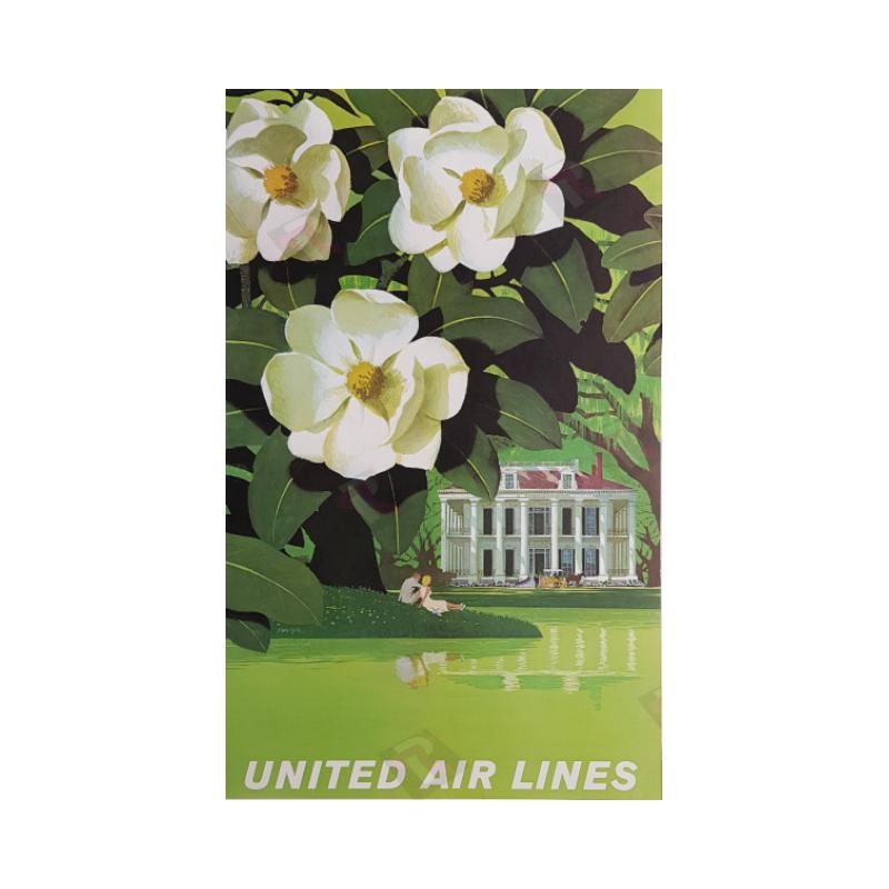 Affiche ancienne originale United Airlines New Orleans Stan GALLI