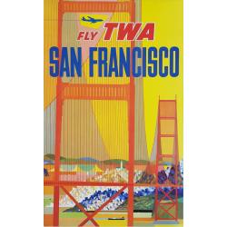 Affiche ancienne originale Fly TWA SAN FRANCISCO avion stylisé David KLEIN