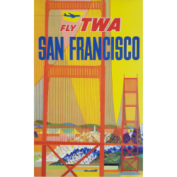 Original vintage poster Fly TWA SAN FRANCISCO with stylized plane David KLEIN