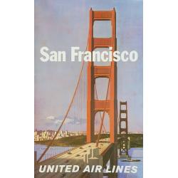 Original vintage poster United Airlines San Francisco Stan GALLI