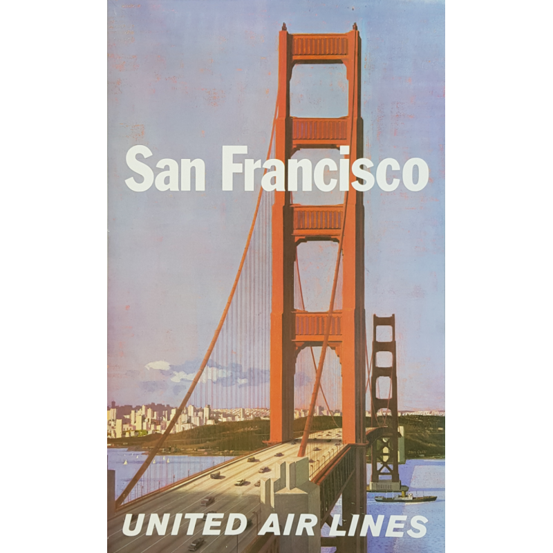 Affiche ancienne originale United Airlines San Francisco Stan GALLI