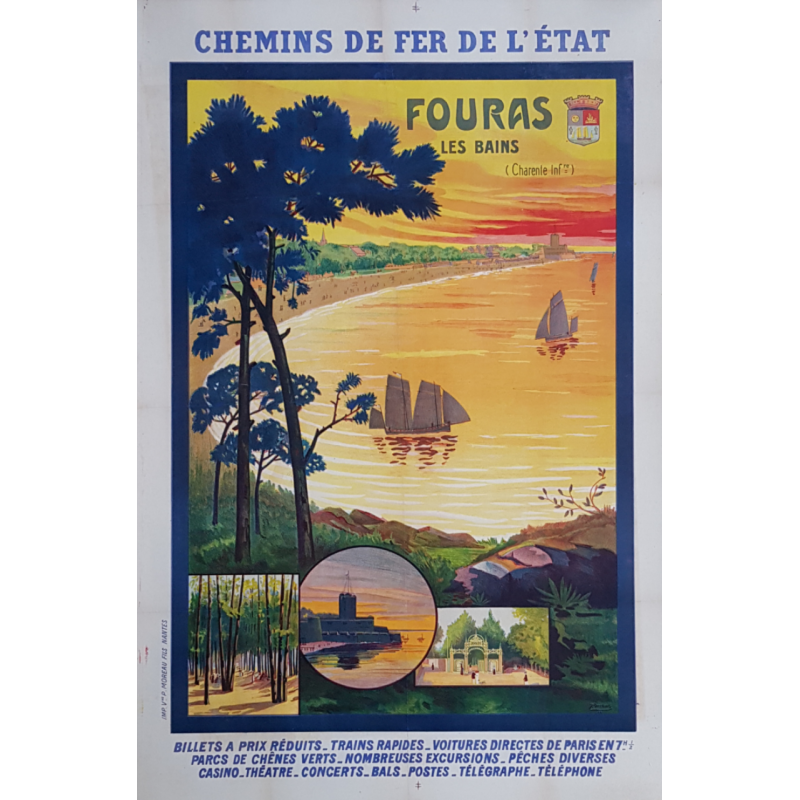 Original vintage poster Fouras Les Bains Charente Perthuis