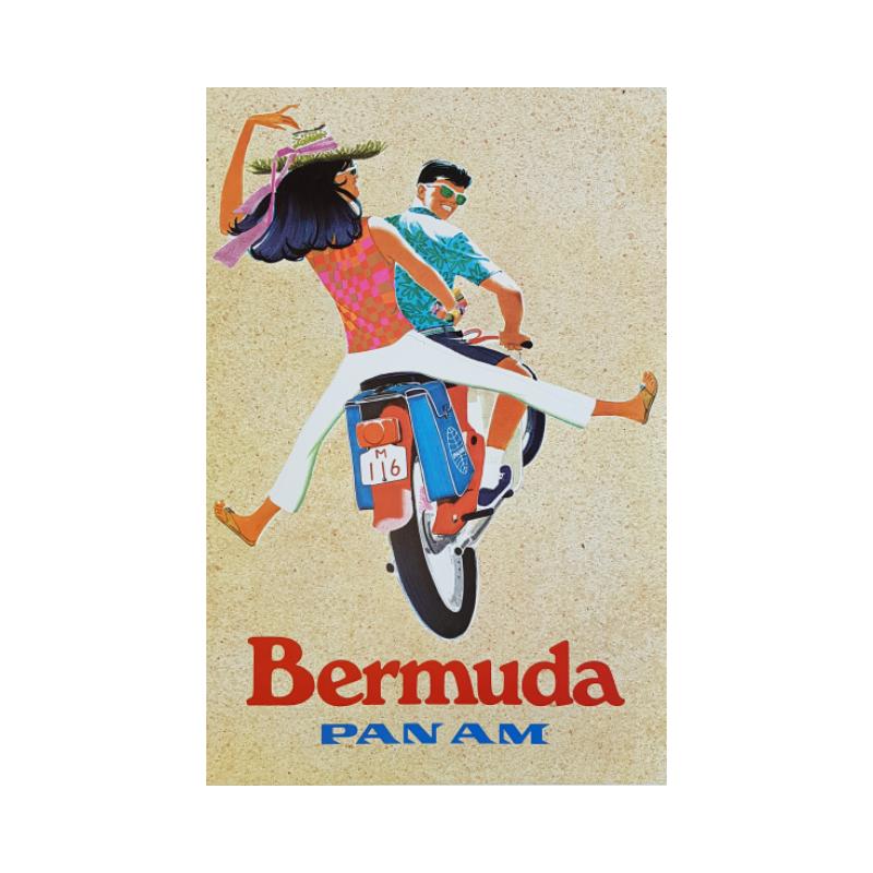 Affiche ancienne originale Pan Am Bermuda ZDINAK