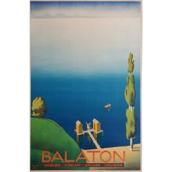 Affiche ancienne originale Balaton 1932 Hungary Ungarn Ungheria