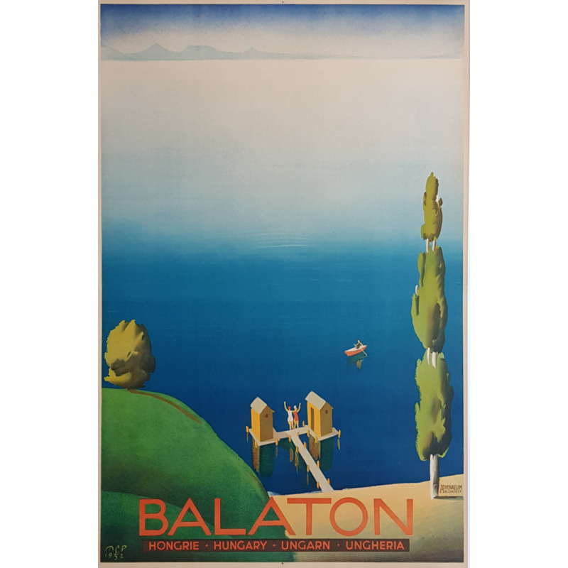Original vintage poster Balaton 1932 Hungary Ungarn Ungheria