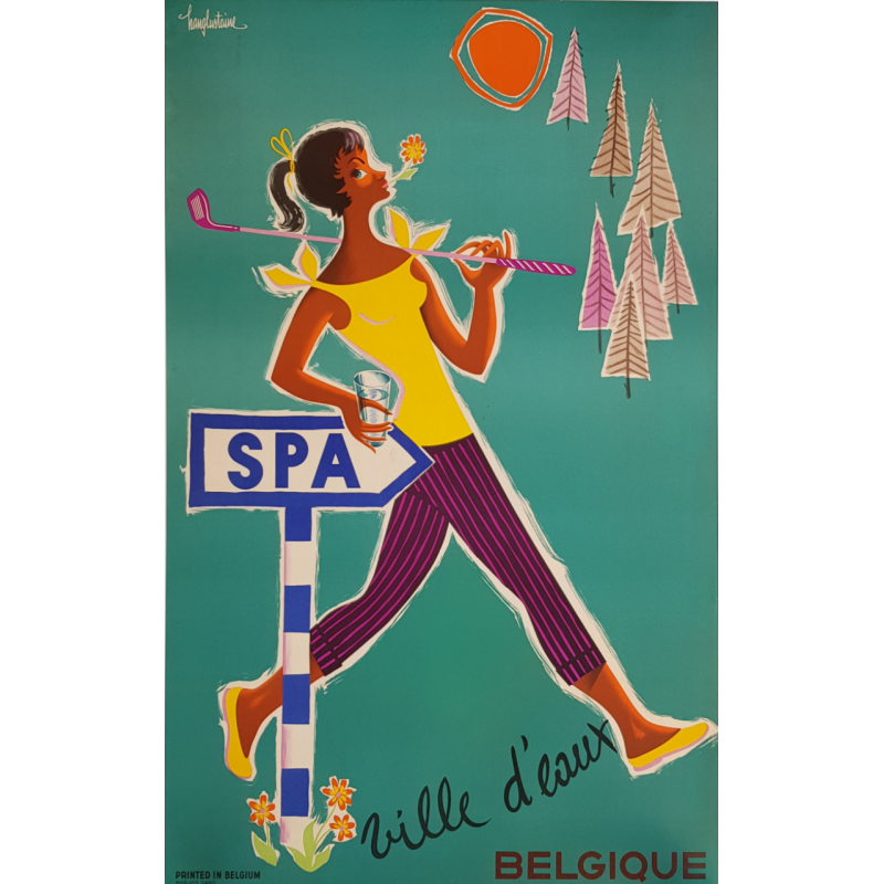 Affiche ancienne originale Spa ville d'eaux Belgique