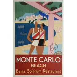 Affiche ancienne originale Monte-Carlo Beach BOUCHAUD