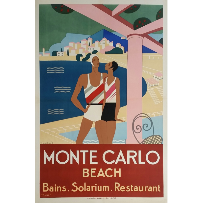 Affiche ancienne originale Monte-Carlo Beach BOUCHAUD
