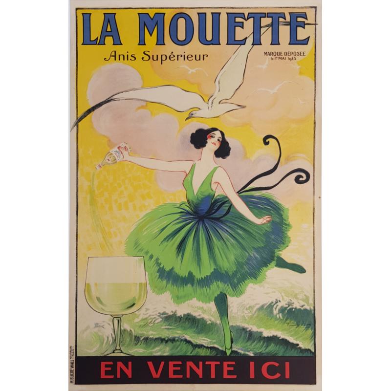 Affiche ancienne originale La Mouette Anis supérieur Raoul VION