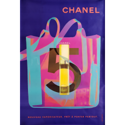 Affiche originale Chanel no 5 sac vaporisateur bleue 170 cms x 120 cms