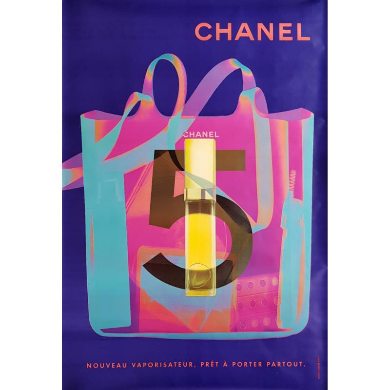 Original poster Chanel no 5 bag spray blue 67 x 47 inches