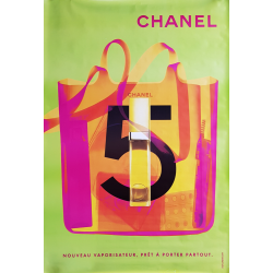 Affiche originale Chanel no 5 sac vaporisateur vert 170 cms x 120 cms